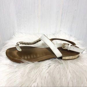 Aldo White and Gold T Strap Sandals